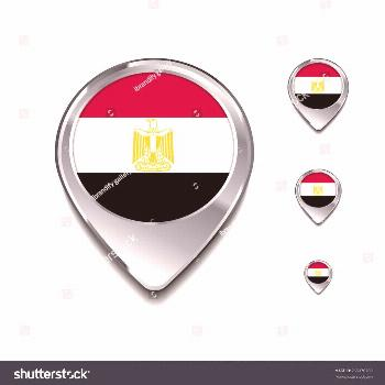 Egypt flag map pointer. 3d Map Pointer with flag glossy button style on gray background ,