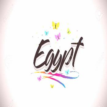 Egypt Handwritten Word Text with Butterflies and Colorful Swoosh Vector Illustration Design. Illust