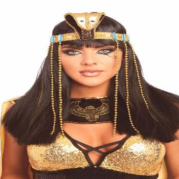 Embody the Queen of Egypt herself with this Cleopatra Headpiece. This gorgeous golden headpiece a f