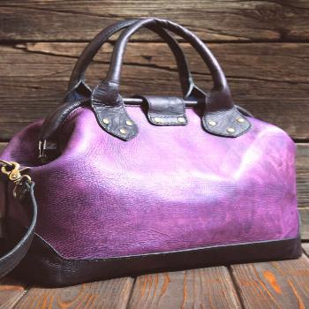 Genuine leather carpet bag. Women top handle bag  A bag designed to put in the hard work of carryin
