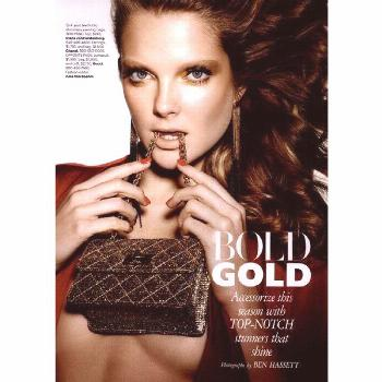 Harper's Bazaar Editorial Bold Gold, March 2011 Shot - MyFDB ❤ liked on Polyvore featuring editor