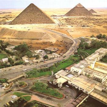 Here again the pyramids of Cheops, Chephren and Mykerinos next to Cairo. The G ... -  Here again th