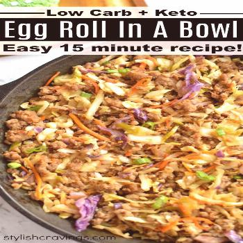Low Carb Egg Roll In A Bowl aka Crack Slaw - All the classic egg roll flavors without the carbs! Ea