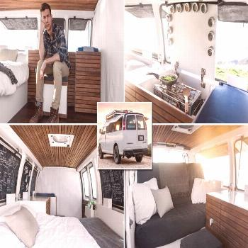 Man bored with the 9-5 life converts Chevy van workspace on wheels -  Filmmaker converts Chevy van