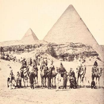 March 5, 1862: The Prince of Wales and his entourage on camels in front of the great pyramids of