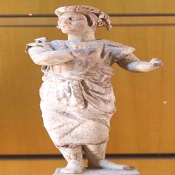 New comedy actor.Terracotta figurine from Myrina,late 3rd cent.BC-2nd BC Musee des Beaux-Arts de Ly