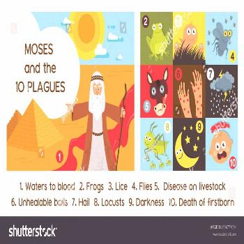 Passover Ten Plagues of Egypt with Moses - Vector illustration ,
