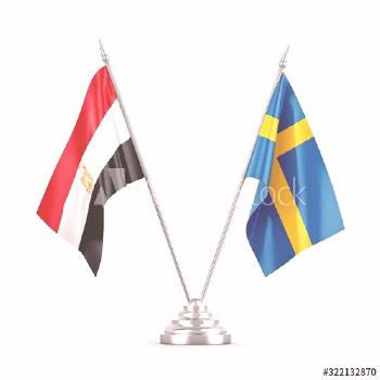 Sweden and Egypt table flags isolated on white 3D rendering ,