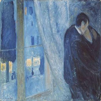 The Kiss by the Window 1892 Painting By Edvard Munch Replica Paintings on Canvas - Reproduction Gal