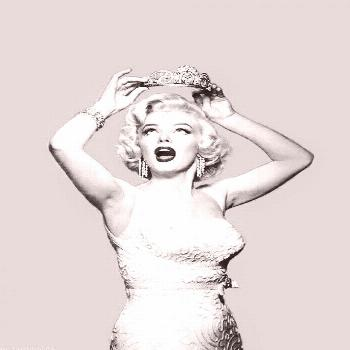 the queen of hollywood Marilyn Monroe with her crown ... well, she was the ... -  the queen of holl