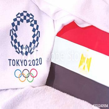 TOKYO, JAPAN, FEBRUARY. 4, 2020: Egypt National flag, official logo of summer olympic games in Toky