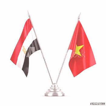 Vietnam and Egypt table flags isolated on white 3D rendering ,