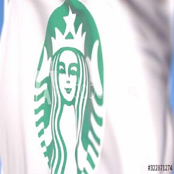 Waving flag with Starbucks Corporation logo, close-up. Editorial 3D rendering ,
