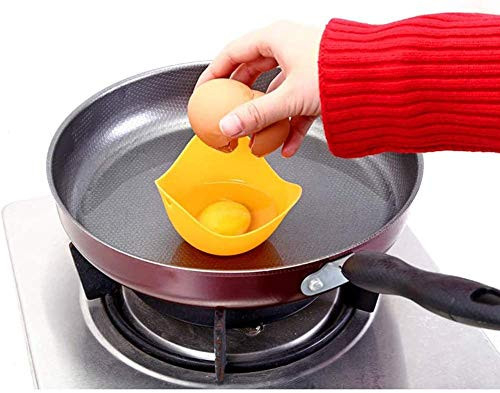 4Pcs Silicone Egg Poacher Cups, Poached Egg Cups with Ring