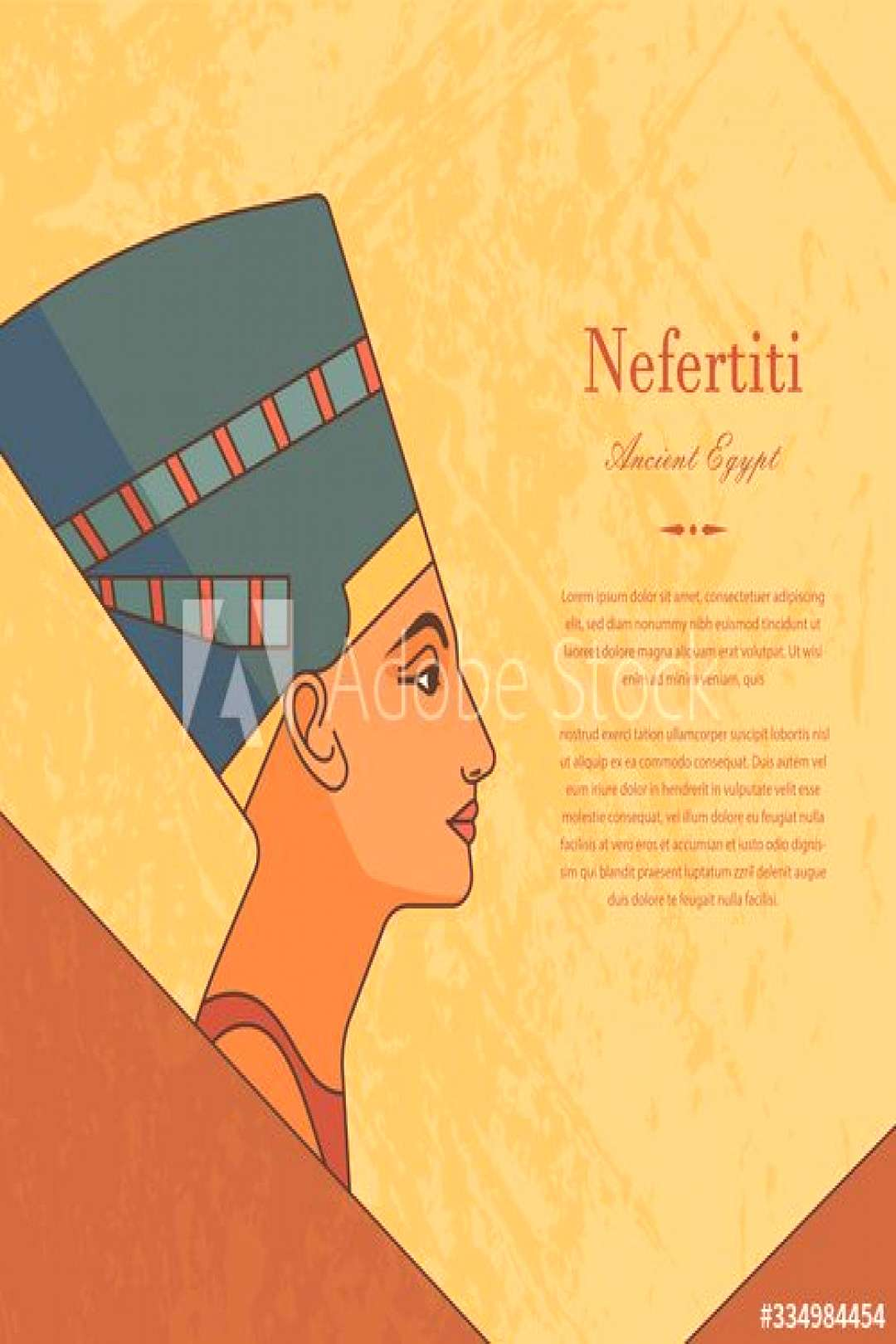 A template with the queen of Egypt Nefertiti in profile with a place for text. ,