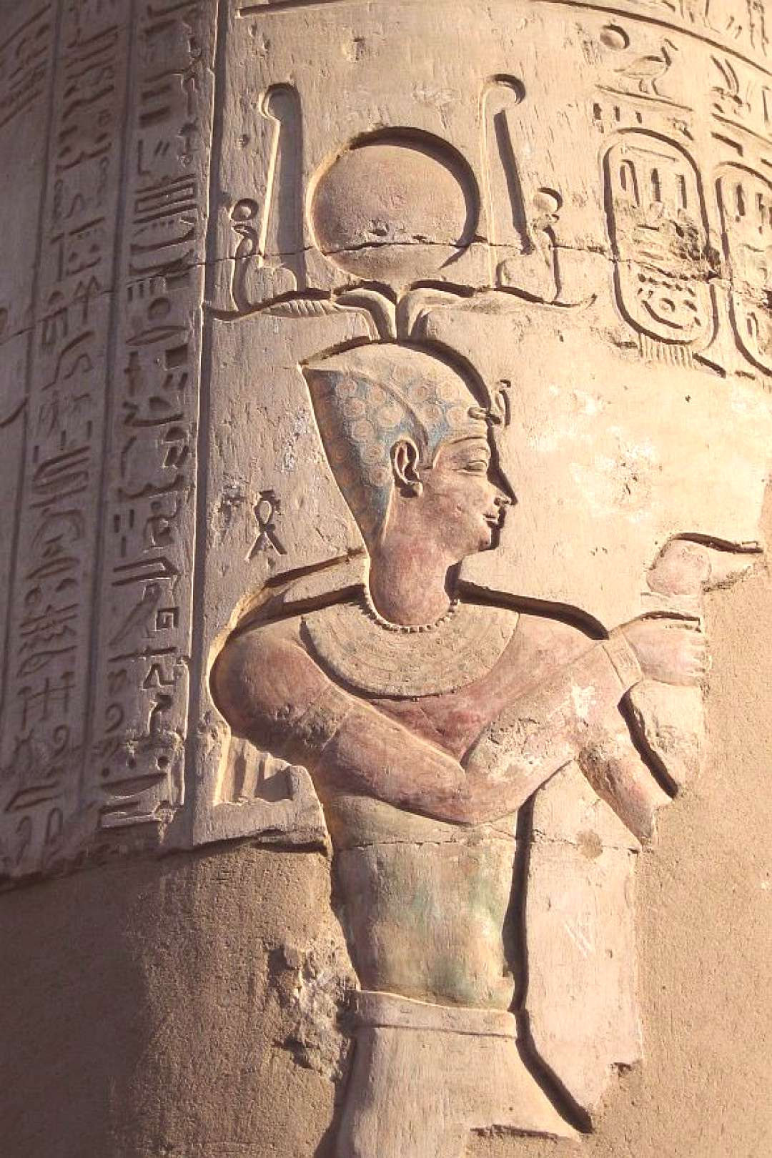 A well-preserved frieze inside Temple of Kom Ombo in Egypt. -