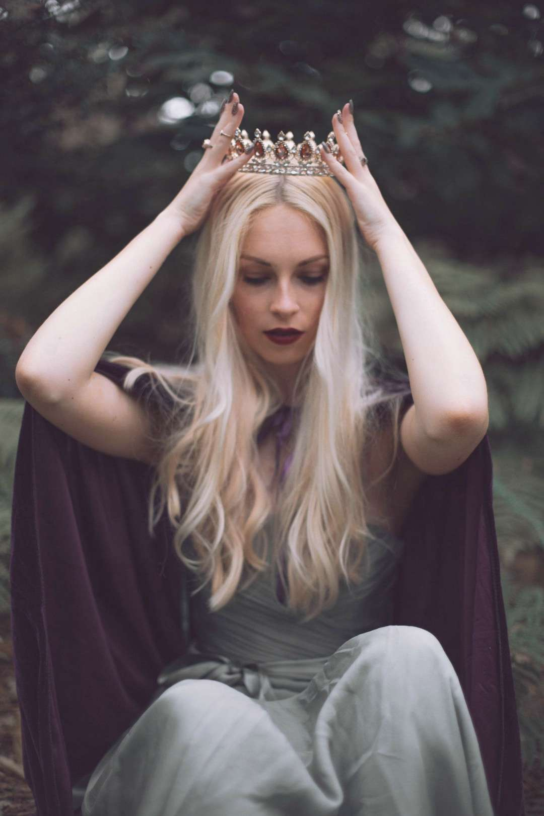 Amber dressed in a cape and crown during our Forest Queen shoot editorial fashio... , Amber dresse