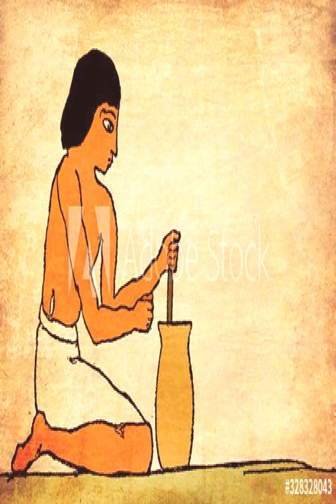 Ancient Egypt - preparation of gruels and other farinaceous foods, stirring until quite smooth ,
