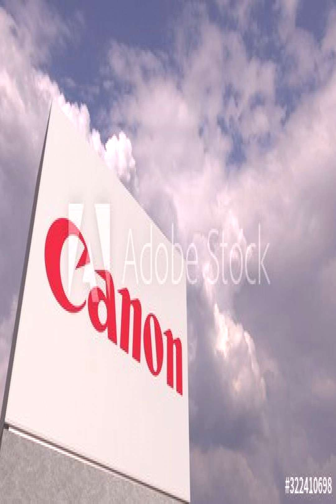 CANON logo against sky background, editorial 3D rendering ,