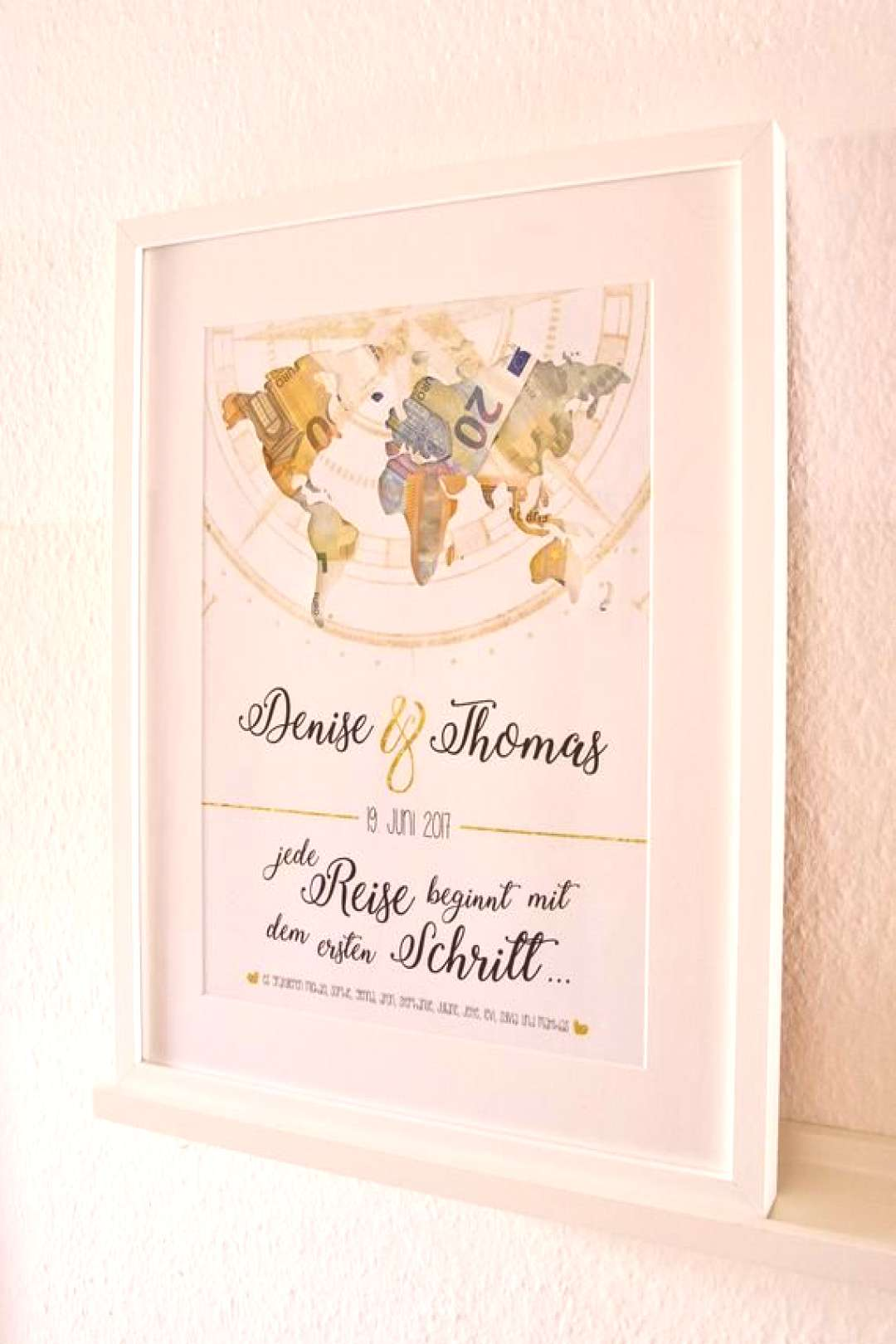 Cash Gift quotWorld Cardquot Wedding quotEvery Journey begins ...quot - Pretty money gift in the form of a pic