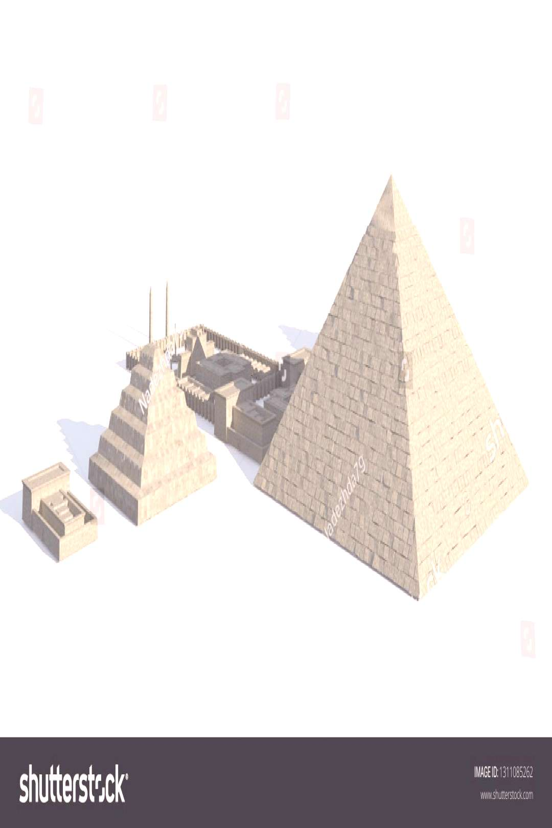 Egypt buildings and statues isolated on white background 3d Illustration ,