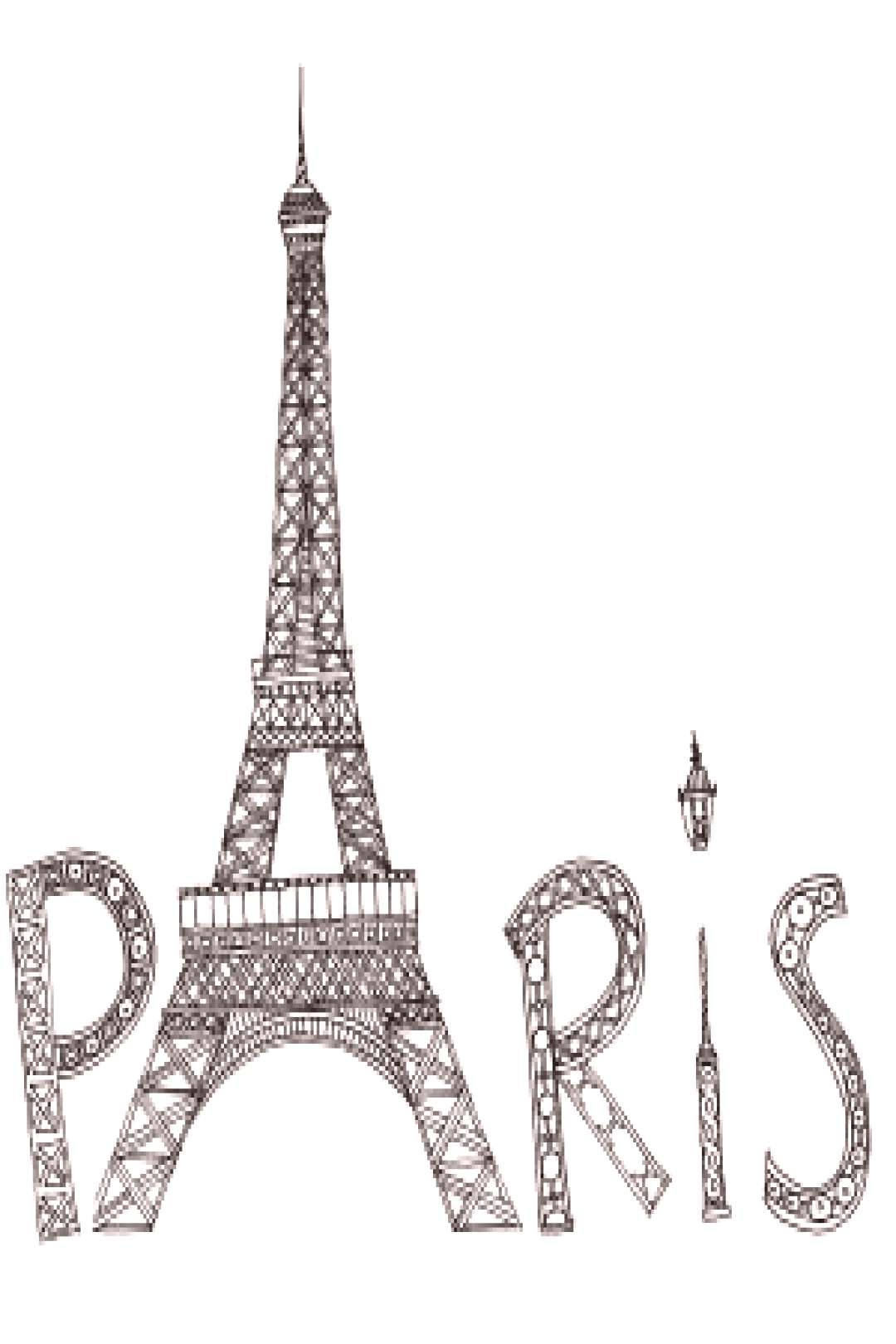 Eiffel Tower _ Art therapy _ Coloring book page _ Free printable doodle to color for grown ups