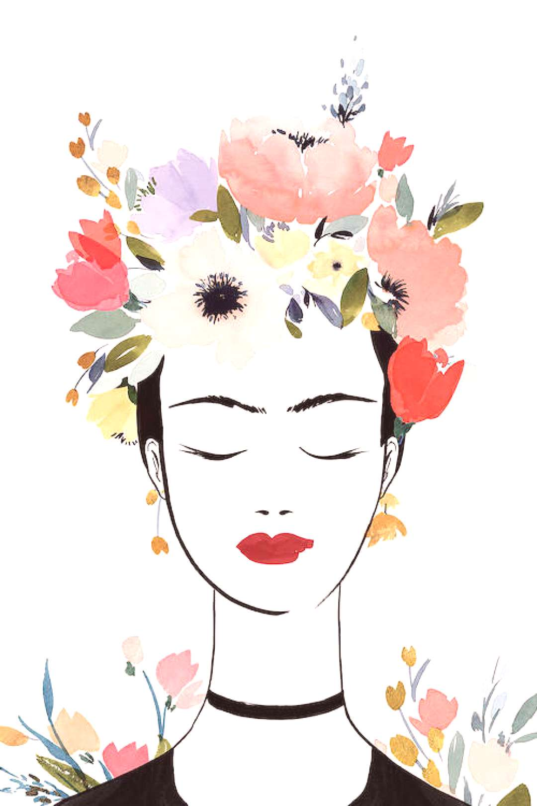 Flower Crown Frida I Canvas Wall Art by Isabelle Z   iCanvas -  -