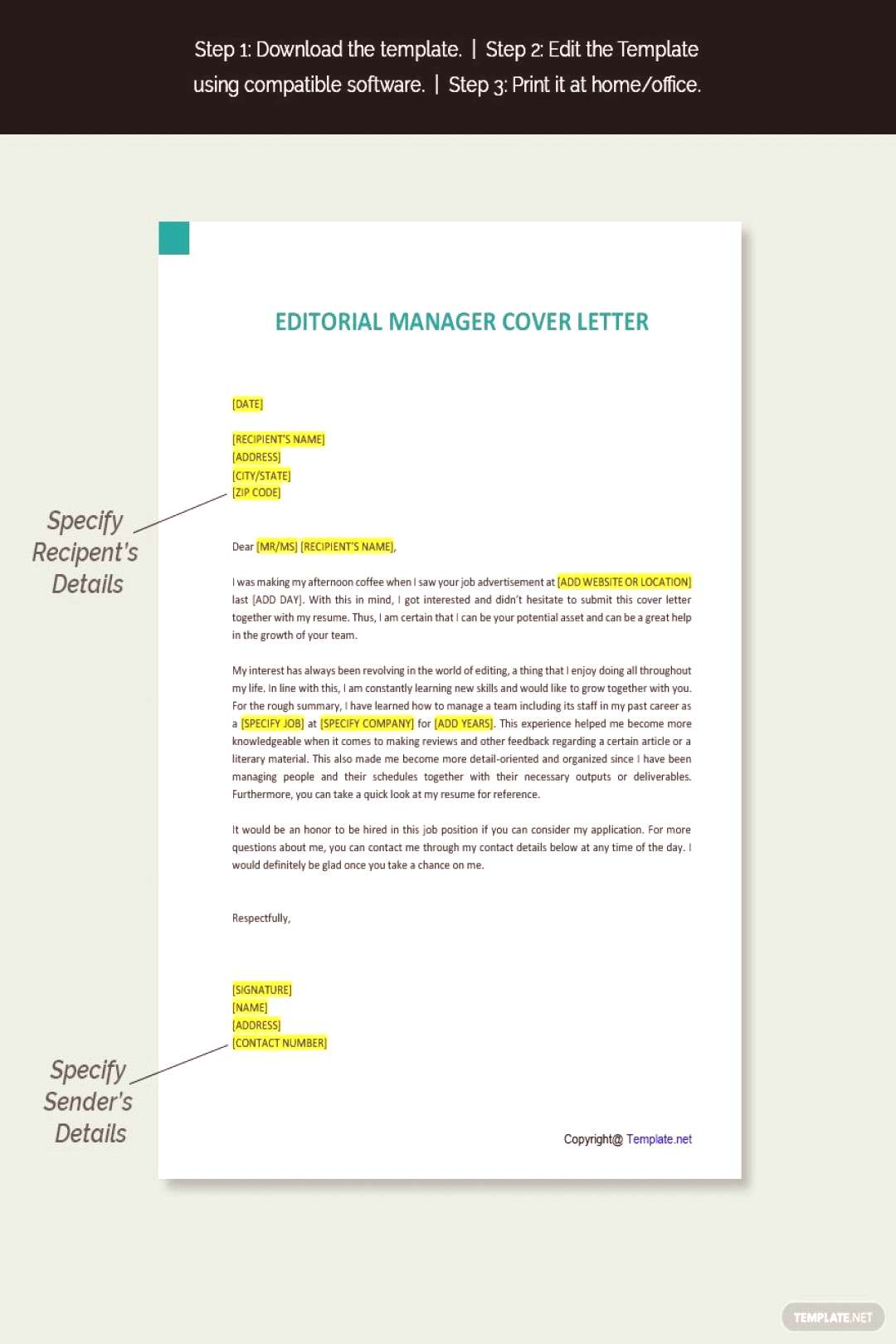 Free Editorial Manager Cover Letter Template ,