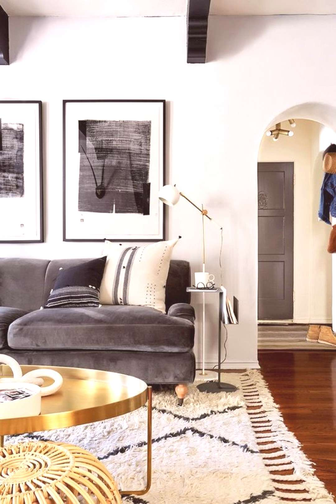 Inside the Living Room Makeover of Emily Hendersons Editorial Director - Living space with a gray