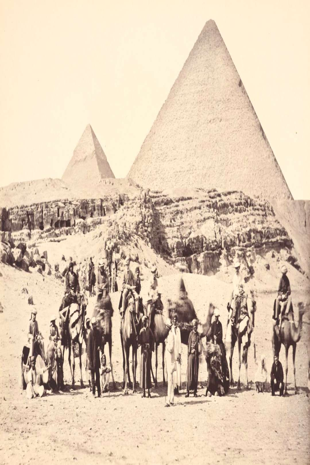 March 5, 1862 The Prince of Wales and his entourage on camels in front of the great pyramids of