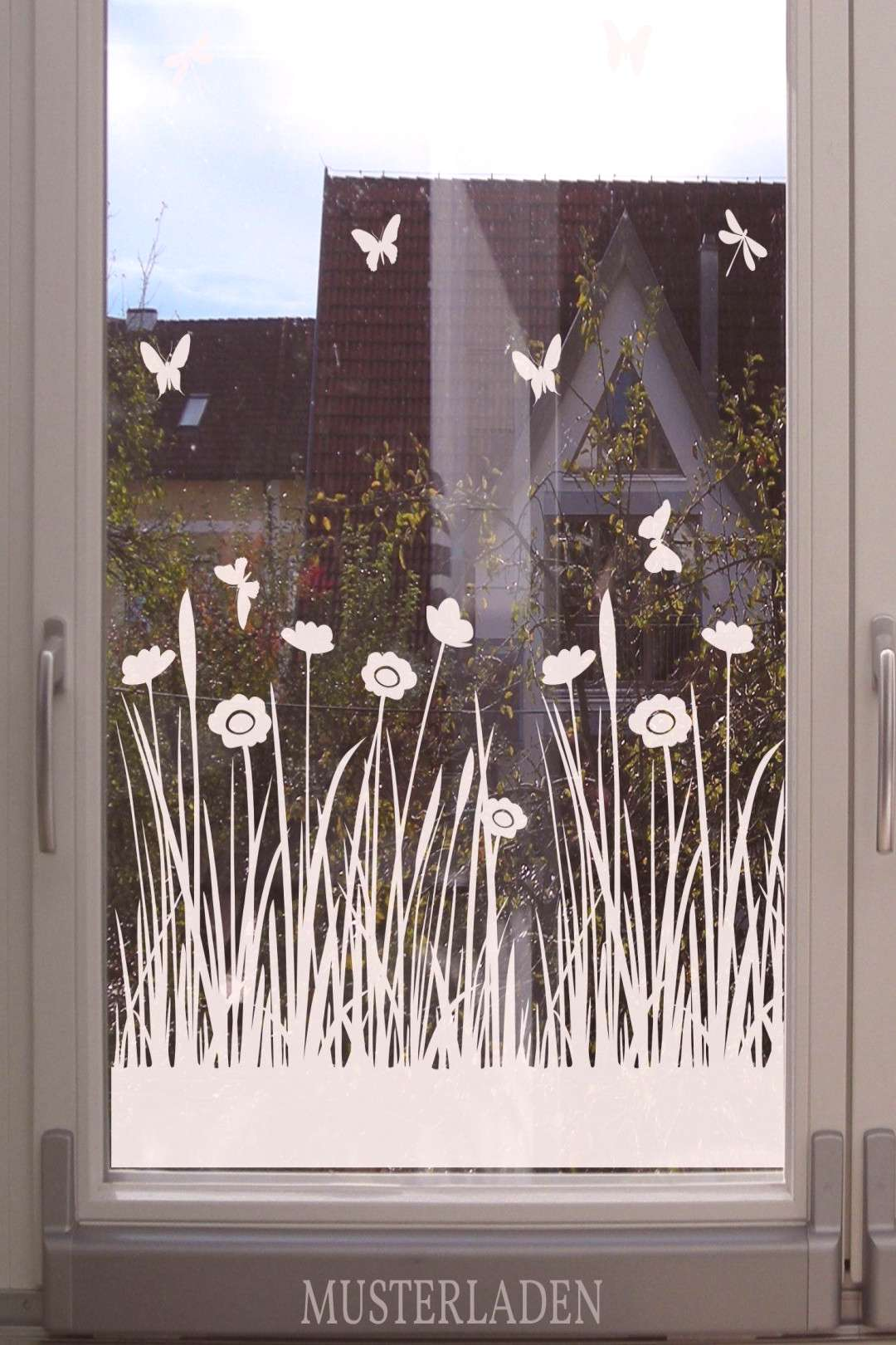 Meadow with flowers and butterflies, window decoration - Window film with meadows and flowers moti