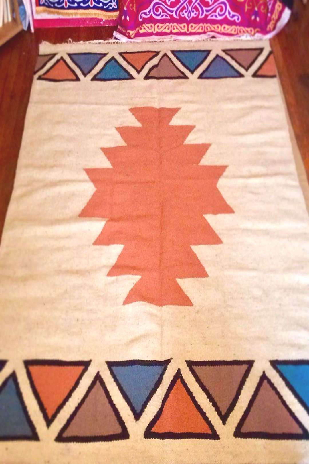 Nubian inspired handmade thick wool Kilim area rug. These patterns are still use - Nubian inspired