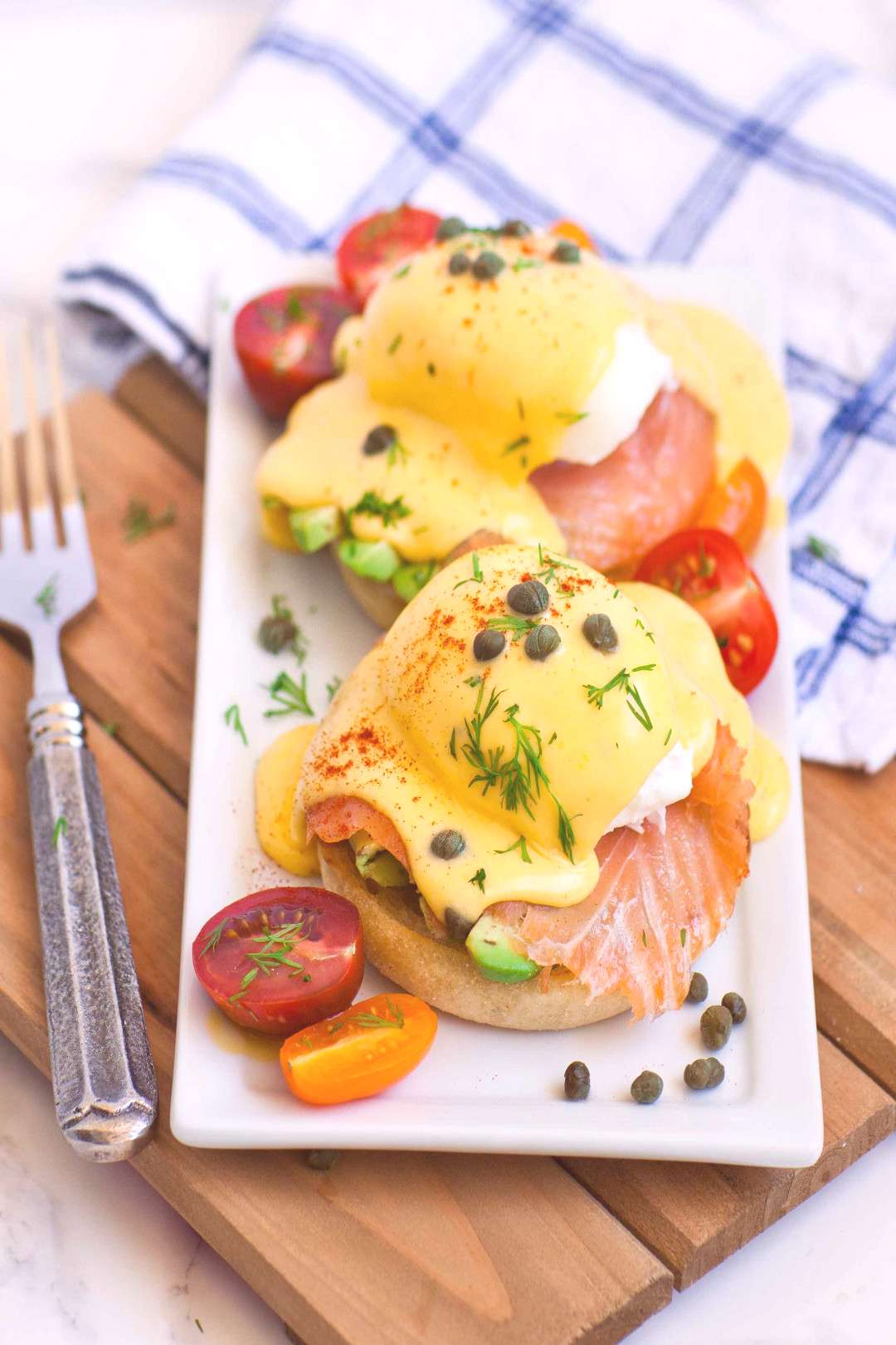 One of my all-time favorite breakfast recipes smoked salmon and avocado eggs benedict! My husband