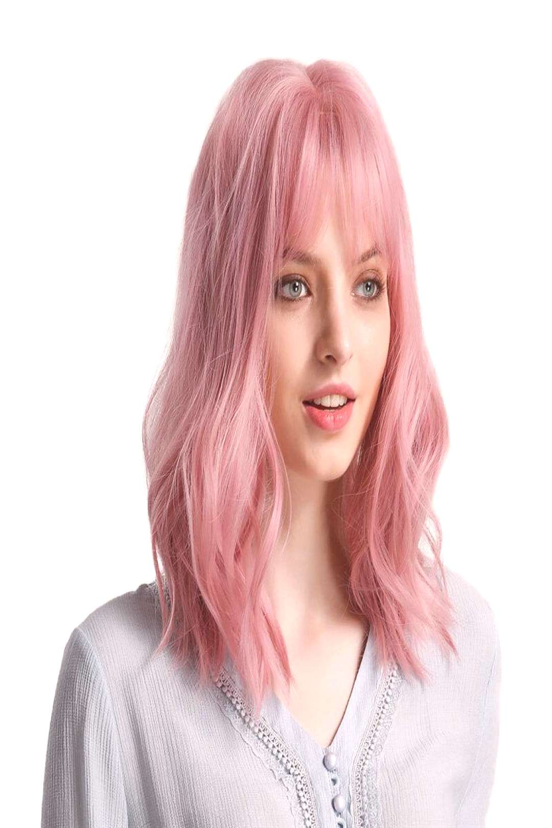 Pink Lolita Wave Synthetic Hair Wigs Bangs Fluffy Nature .