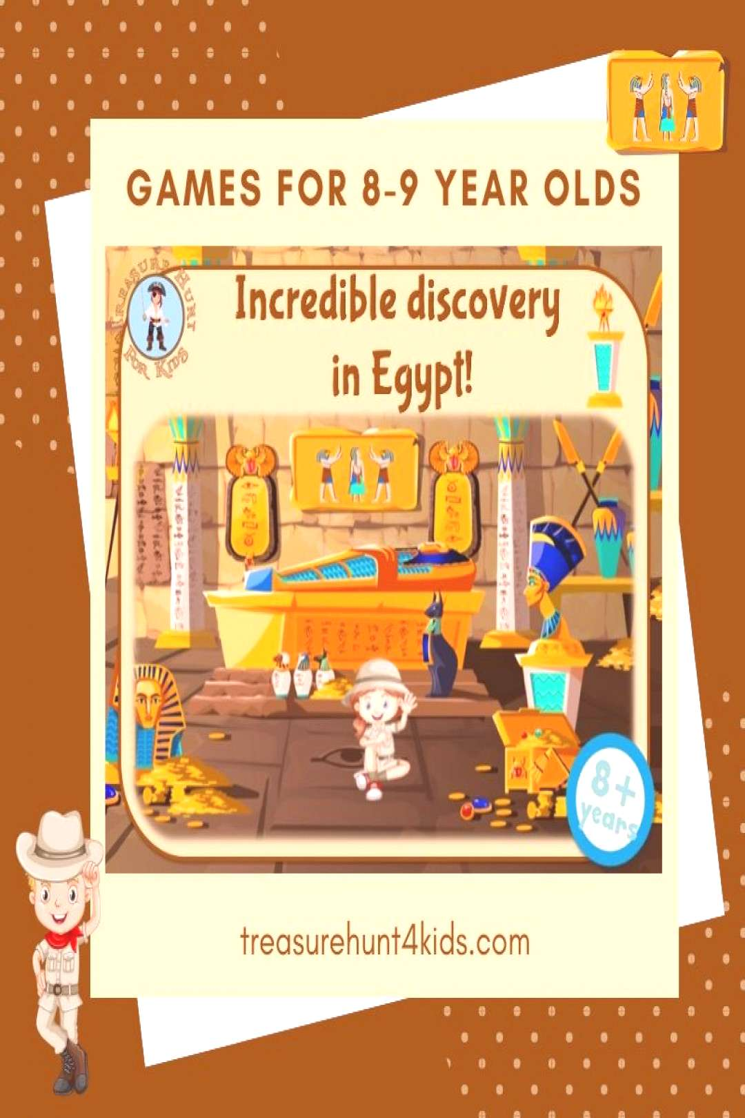 Print and play Egypt treasure hunt game for kids aged 8-9 years to play at home