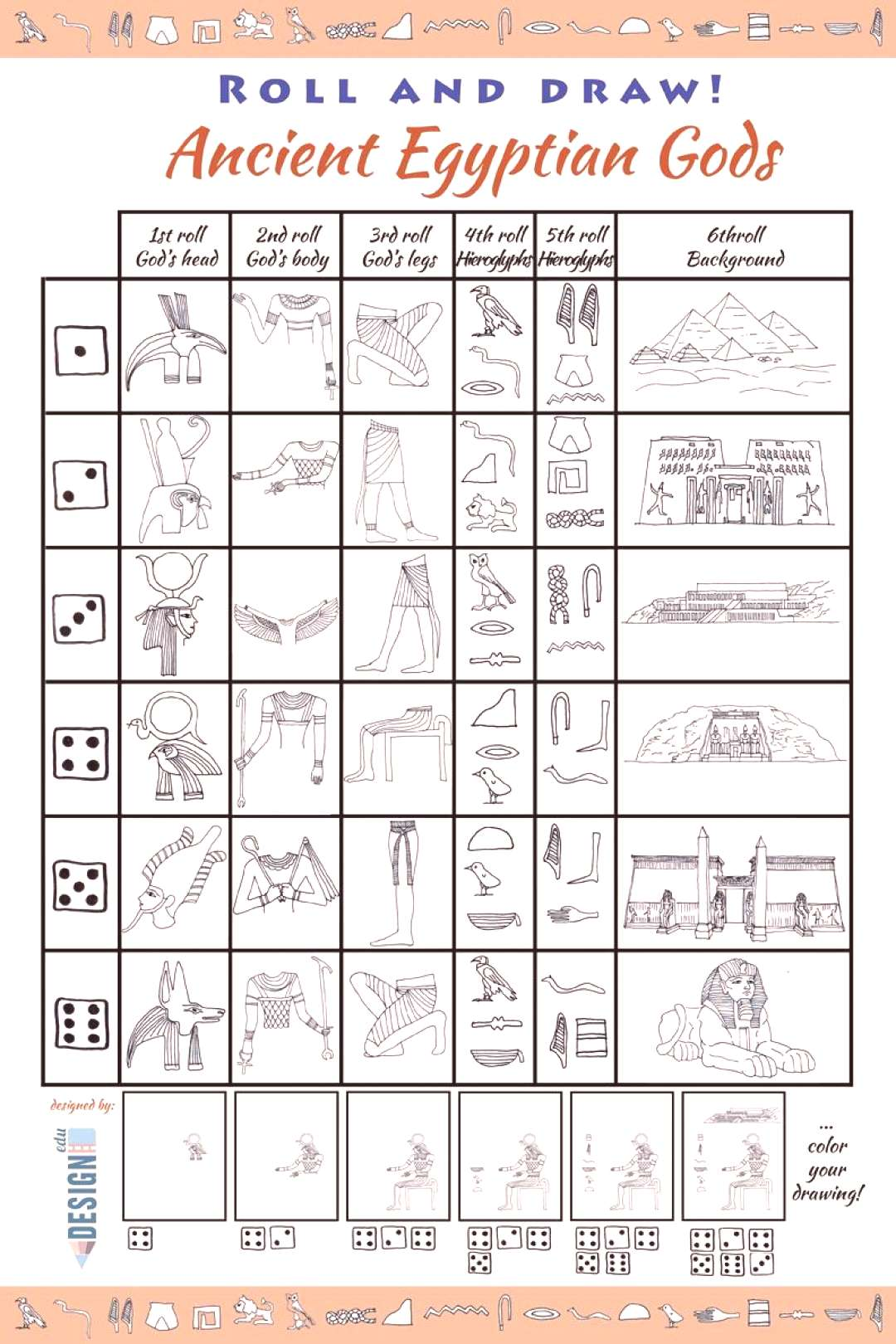 Roll and Draw! Ancient Egypt - Roll and Draw art game – learning about Ancient Egyptian Gods and
