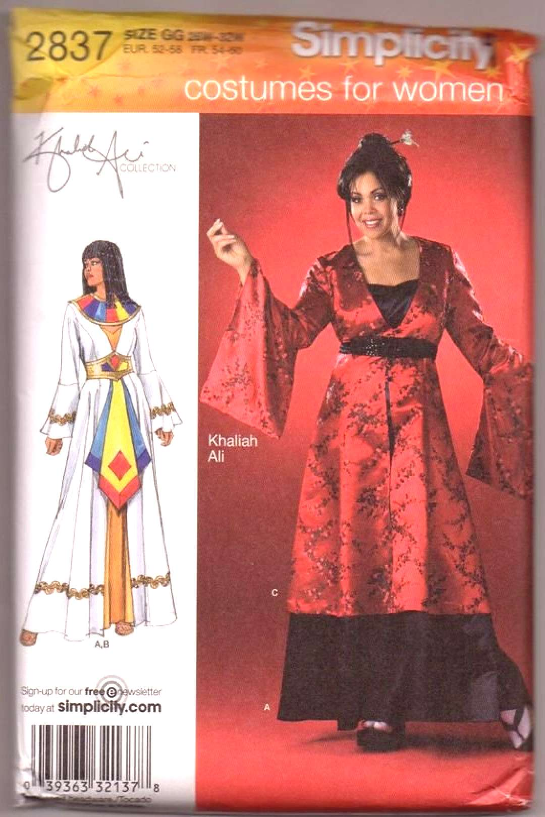 Simplicity 2837 Cleopatra Egyptian Costume Sewing Pattern UNCUT Plus Size 18W - 24W or 26W - 32W Kh