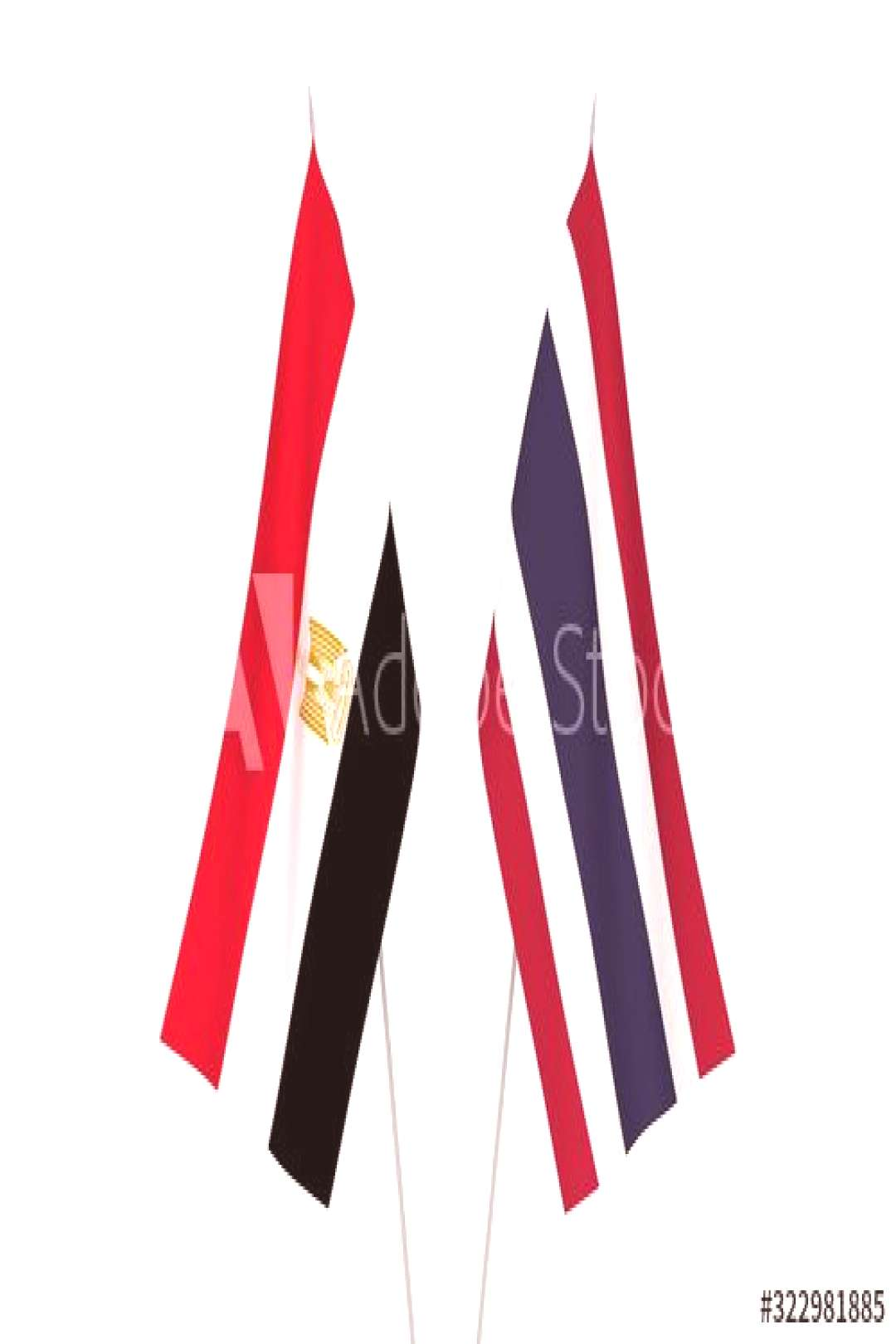 Thailand and Egypt flags ,