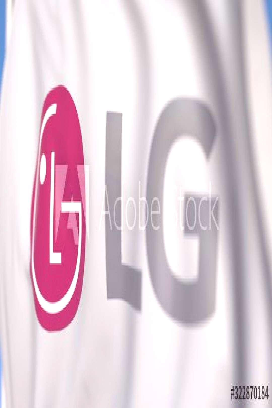 Waving flag with LG Corporation logo, close-up. Editorial 3D rendering ,